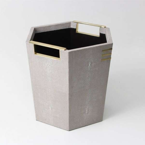Christie Waste Bin in Barley Shagreen 4