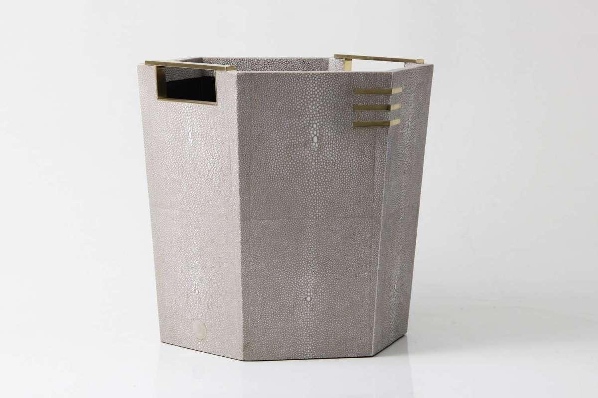 Christie Waste Bin in Barley Shagreen 2