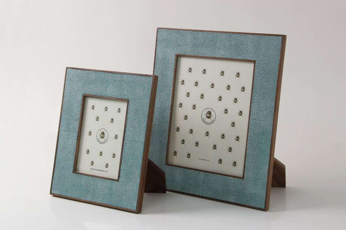 Classic Photo Frame in Teal Shagreen by Forwood Design 2