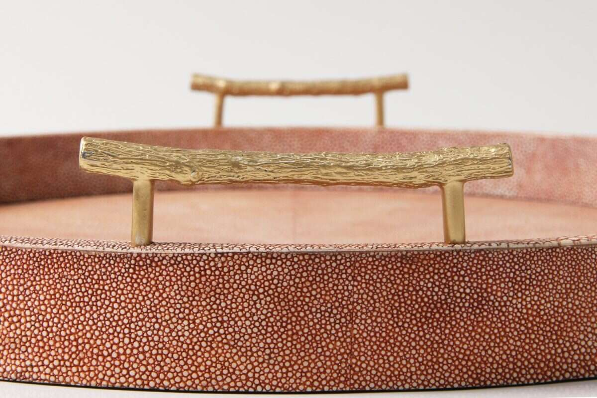 Oval Serving Tray in Coral Shagreen by Forwood Design 5