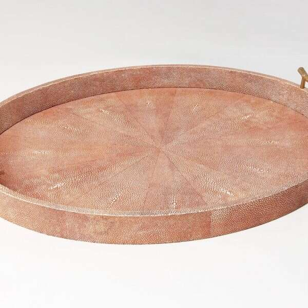 Oval Serving Tray in Coral Shagreen by Forwood Design 3