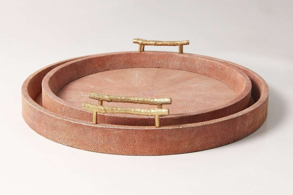 Oval Serving Tray in Coral Shagreen by Forwood Design 1