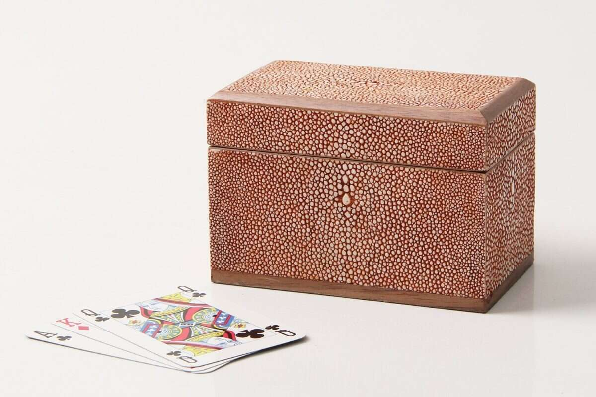 Playing Card Box in Coral Shagreen by Henry Forwood