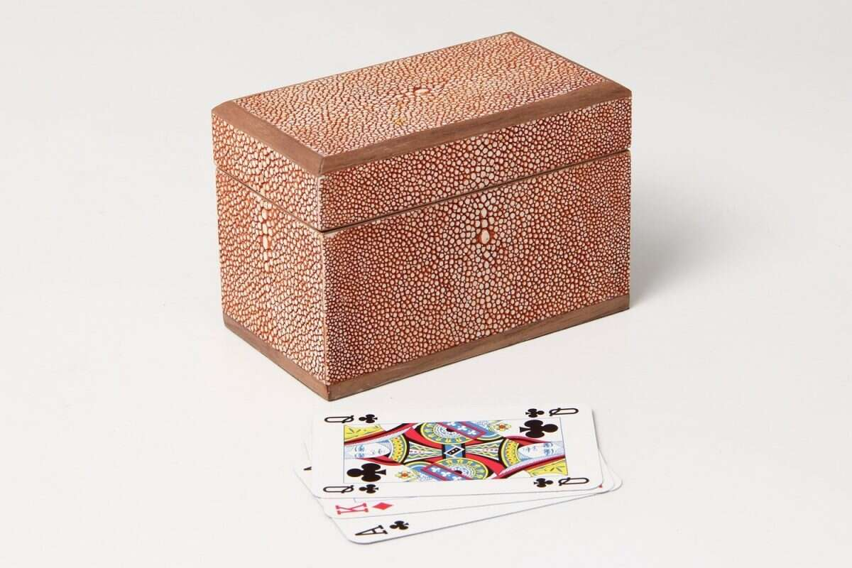 Playing Card Box in Coral Shagreen4