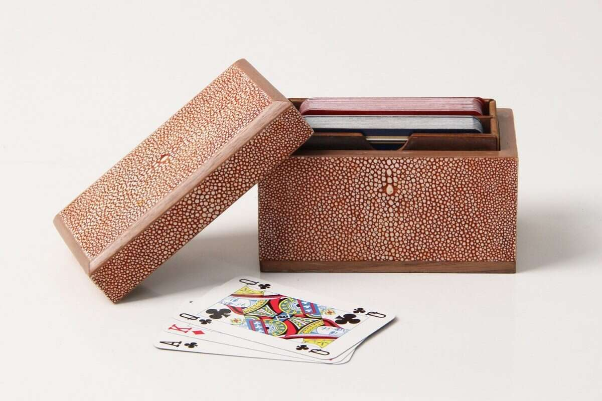 Playing Card Box in Coral Shagreen3