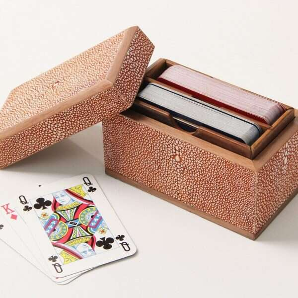Playing Card Box in Coral Shagreen 1