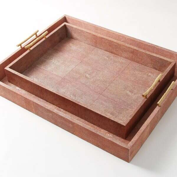 Rectangle Serving Trays in Coral Shagreen by Forwood Design 5