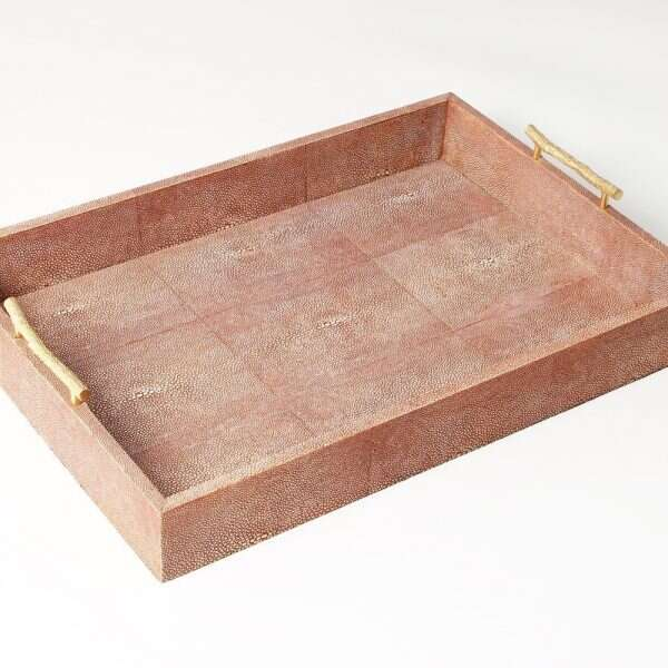Rectangle Serving Trays in Coral Shagreen by Forwood Design 2