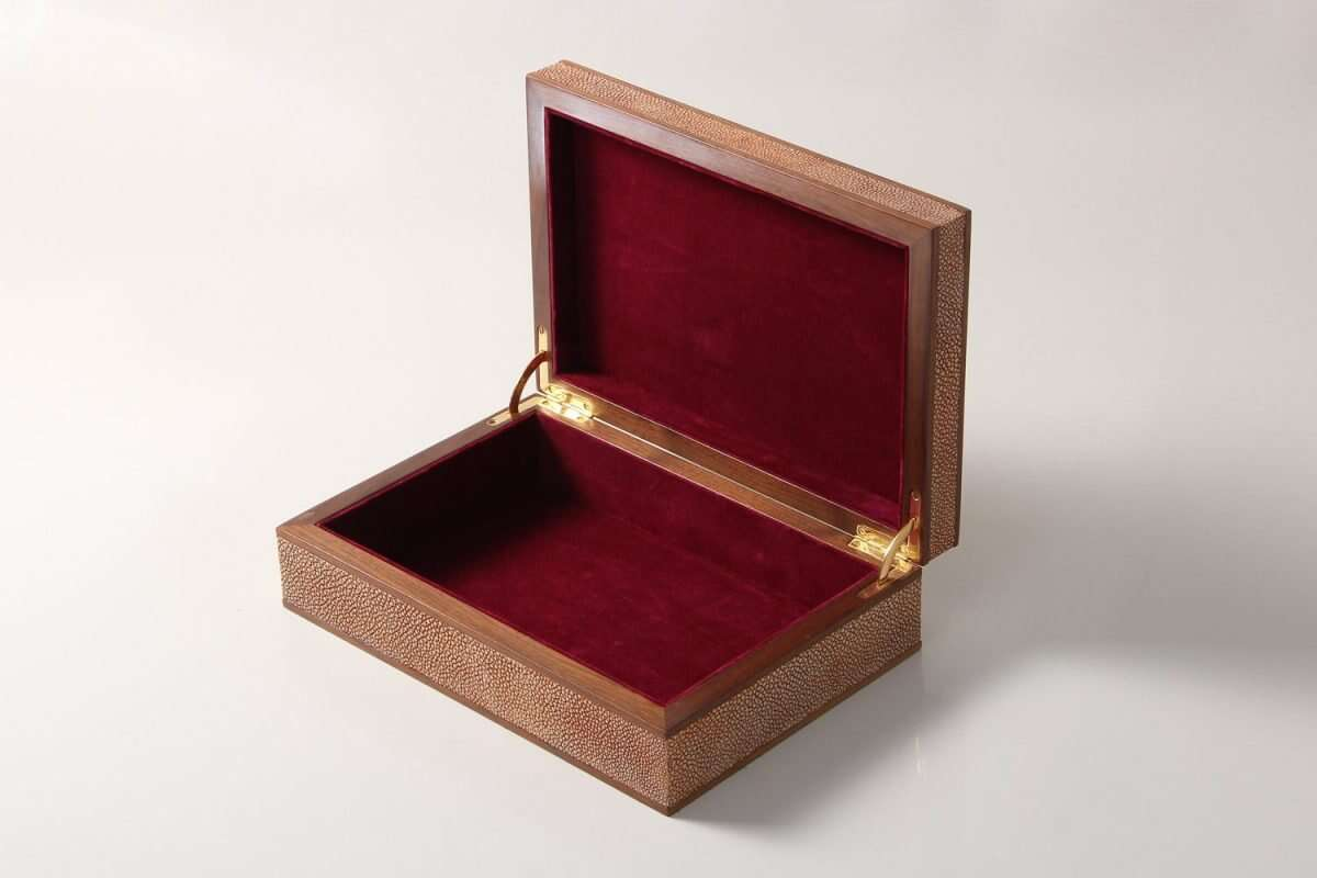 Jewellery Treasure Box in Coral Shagreen by Forwood Design 4