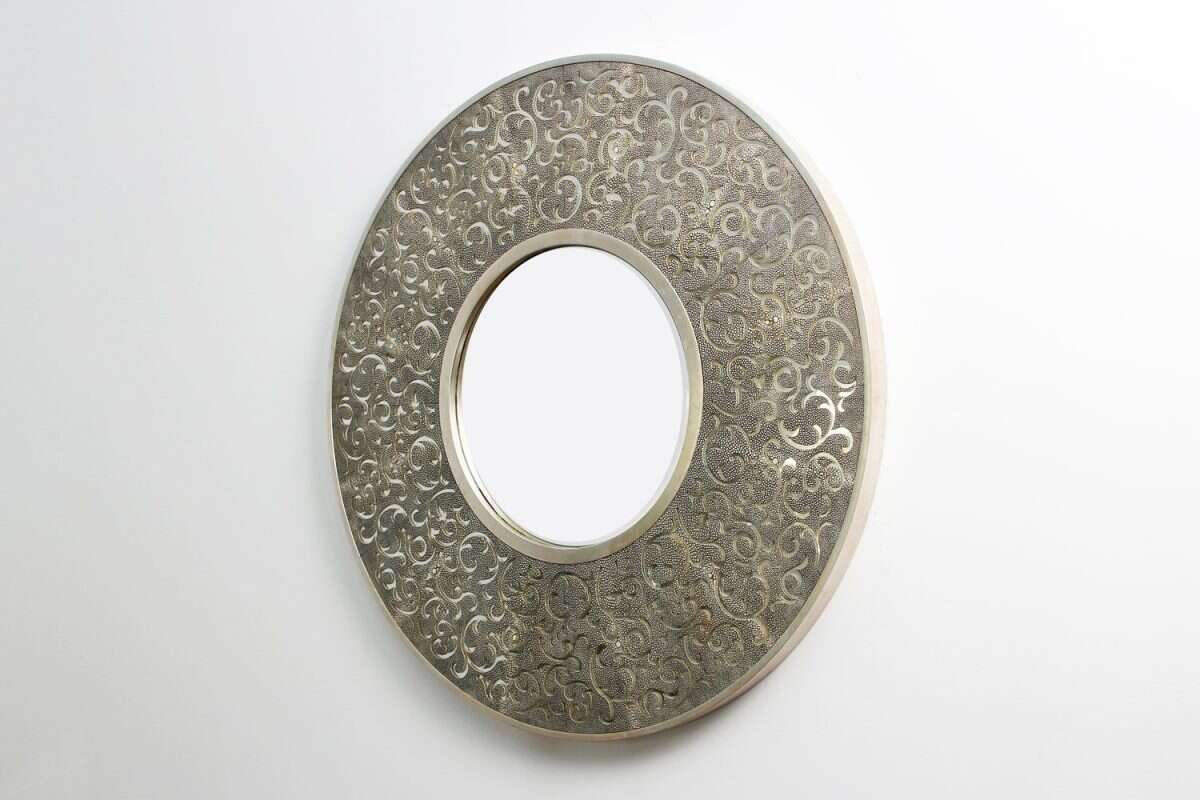 Damask Mirror in Charcoal Shagreen by Forwood Design 3