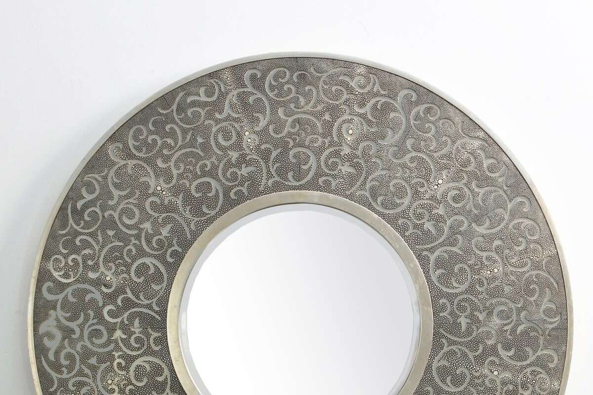 Damask Mirror in Charcoal Shagreen by Forwood Design 1