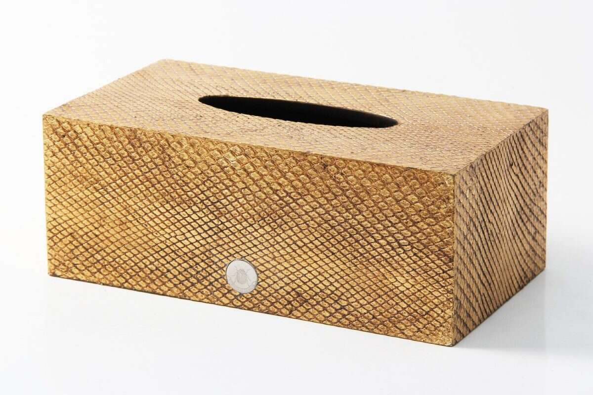 Tissue Box in Antique Gold Boa Snakeskin by Forwood Design 3