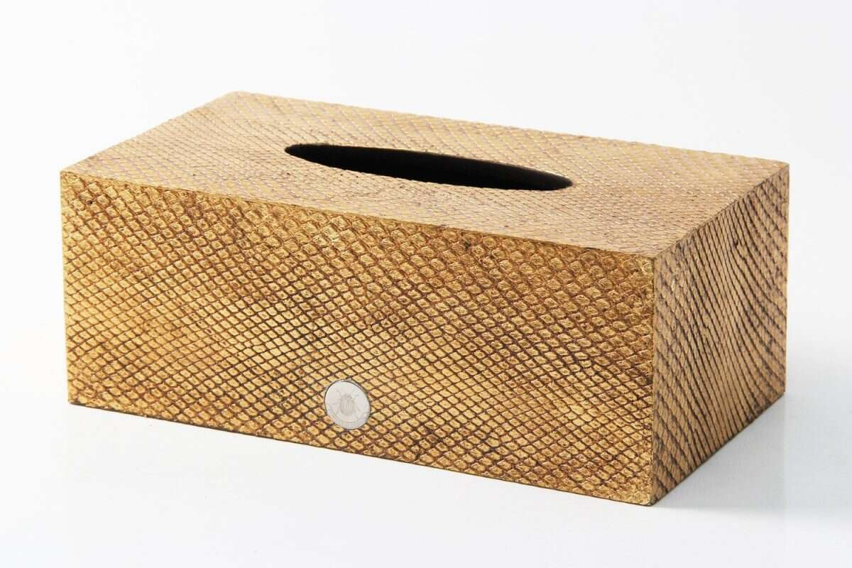 Tissue Box in Antique Gold Boa Snakeskin by Forwood Design 1