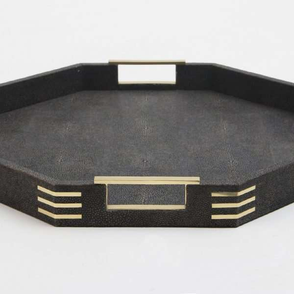 Holmes Octagonal Serving Tray in Seal Brown shagreen by Forwood Design 5