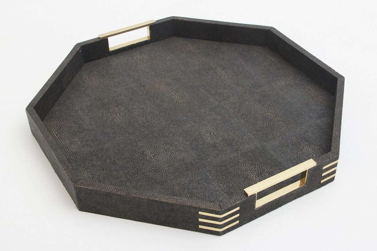 Holmes Octagonal Serving Tray in Seal Brown shagreen by Forwood Design 3
