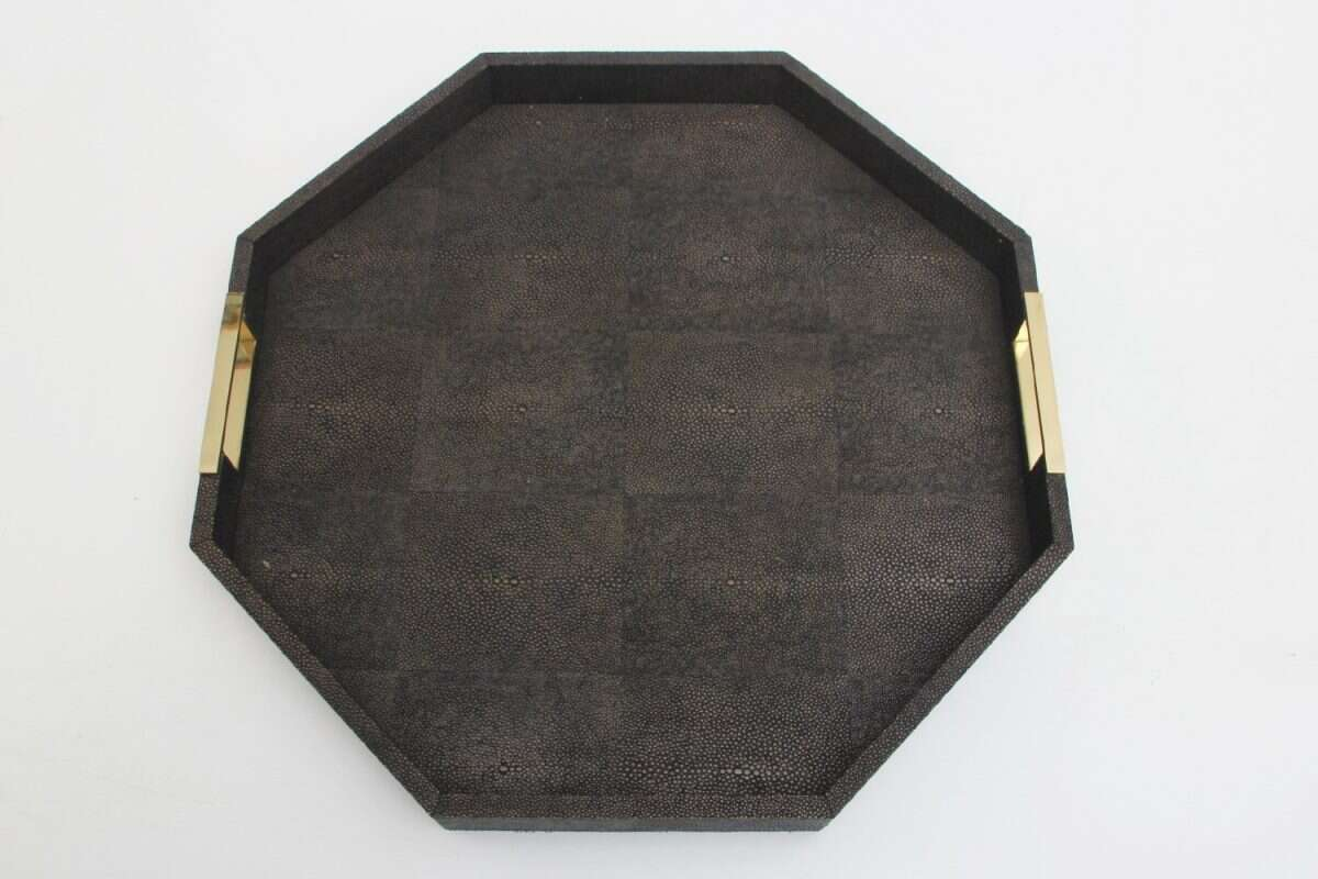 Holmes Octagonal Serving Tray in Seal Brown shagreen by Forwood Design 1