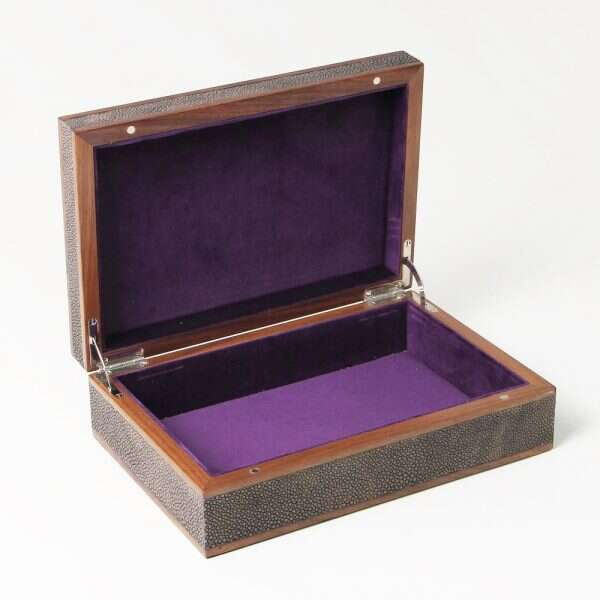 seal brown designer faux shagreen box