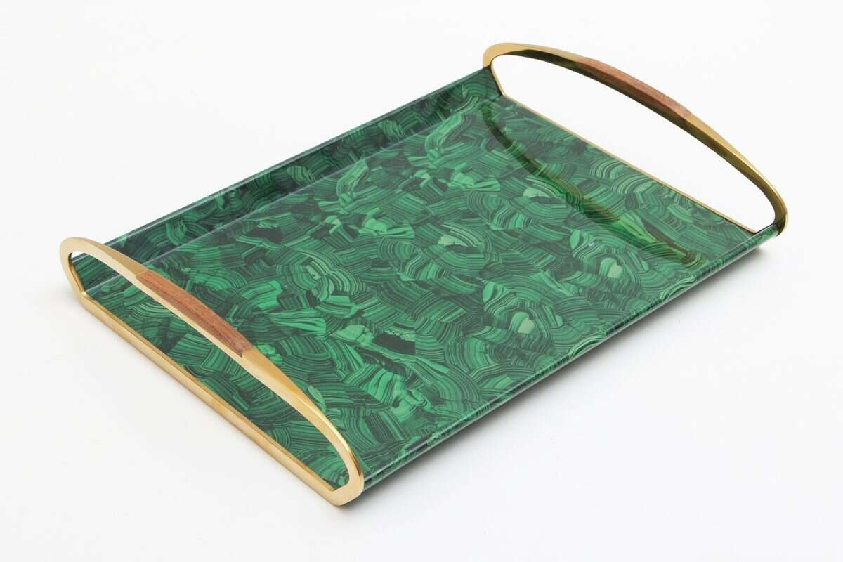 Jules Drinks Tray in Malachite by Forwood Design 5