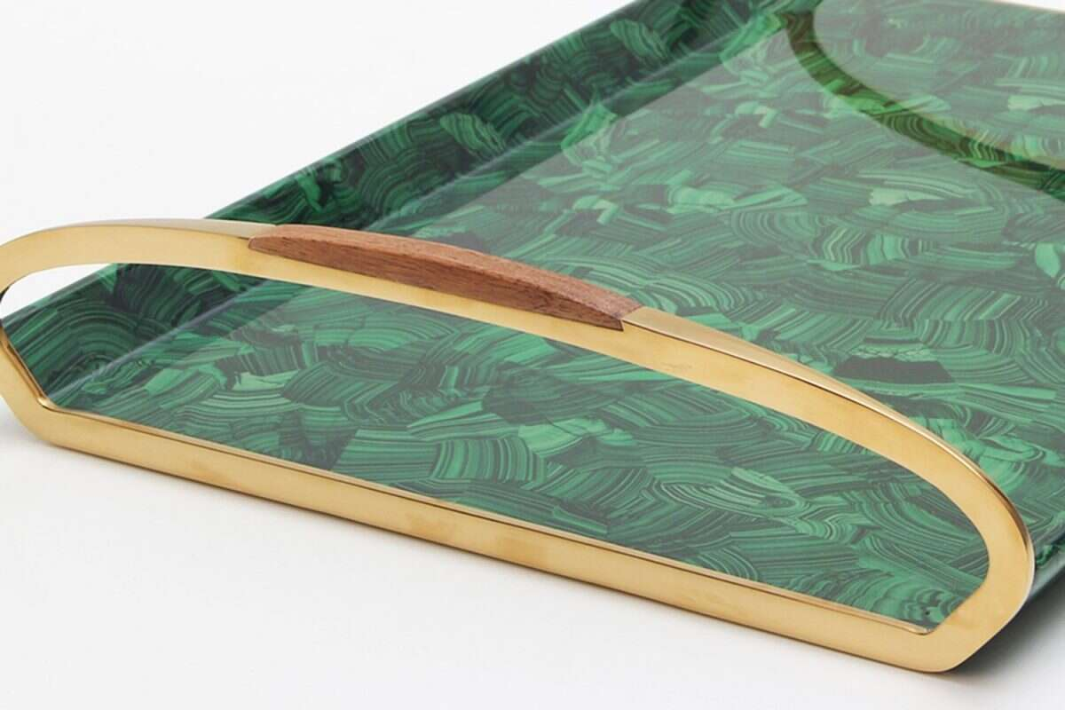 Jules Drinks Tray in Malachite by Forwood Design 4