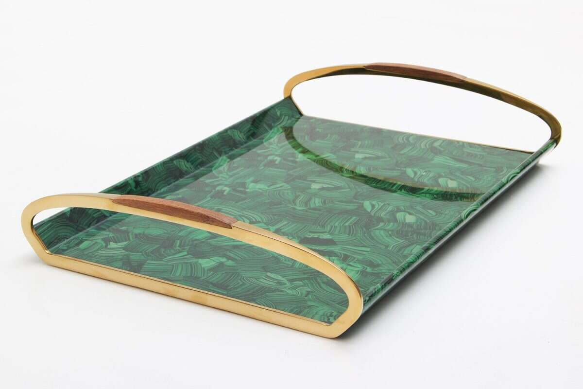 Jules Drinks Tray in Malachite by Forwood Design 3