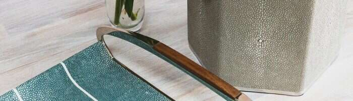 Jules-tray-in teal-shagreen with ice bucket