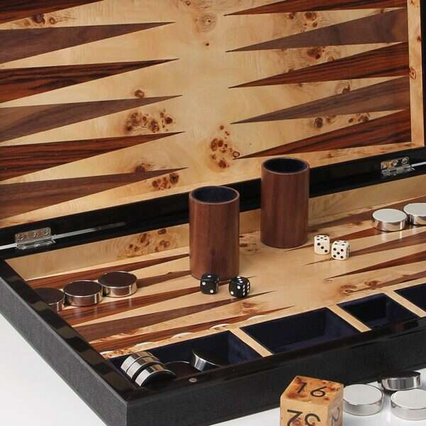 Large backgammon board in black shagreen