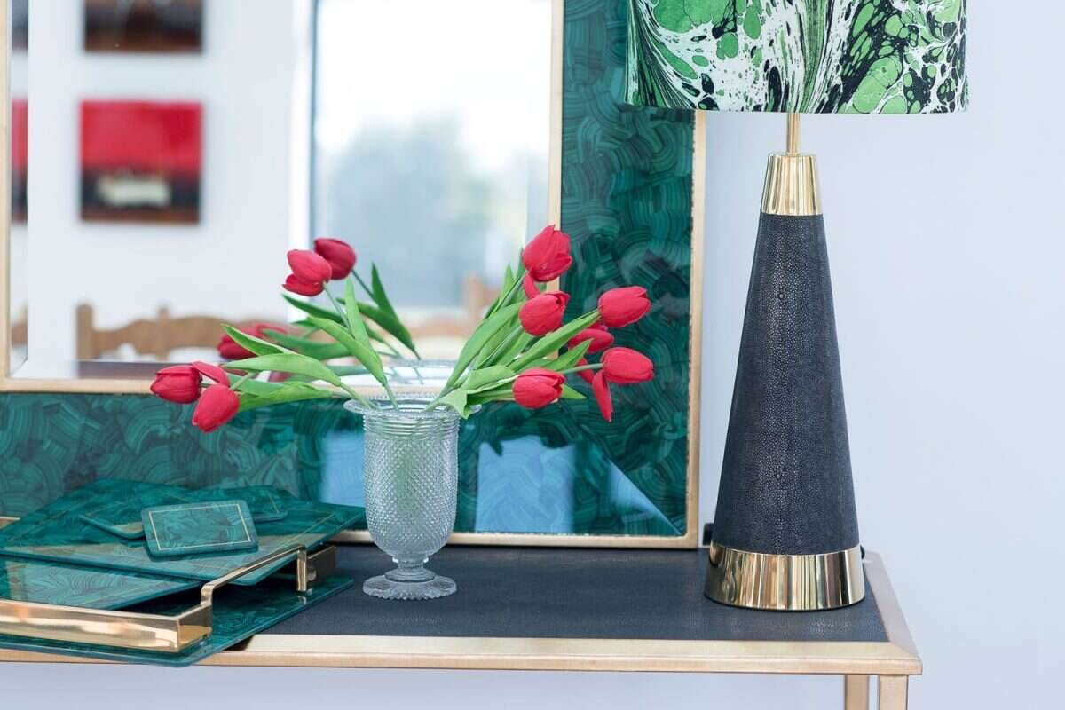 Lexington Table Lamp in Seal Brown Shagreen by Forwood Design 1