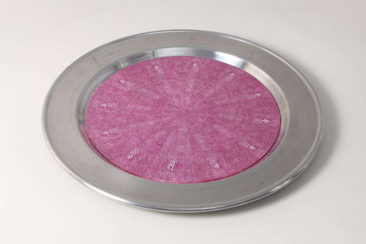 Duchess Serving Tray in Magenta Pink Shagreen by Forwood Design 5