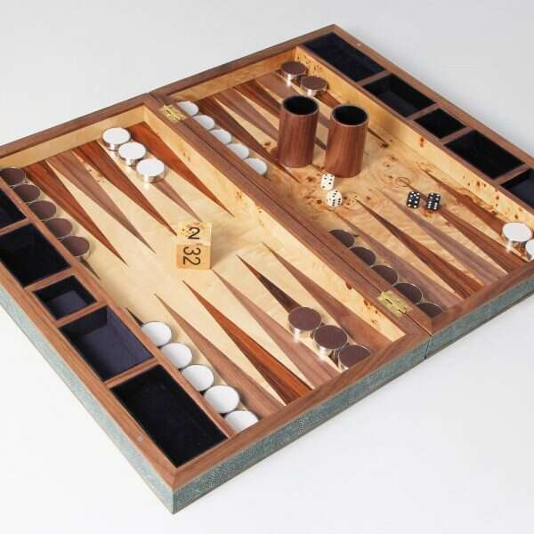 Backgammon Board in Lincoln Green Shagreen 5