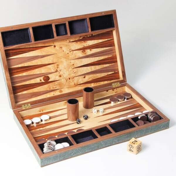Backgammon Board in Lincoln Green Shagreen 2