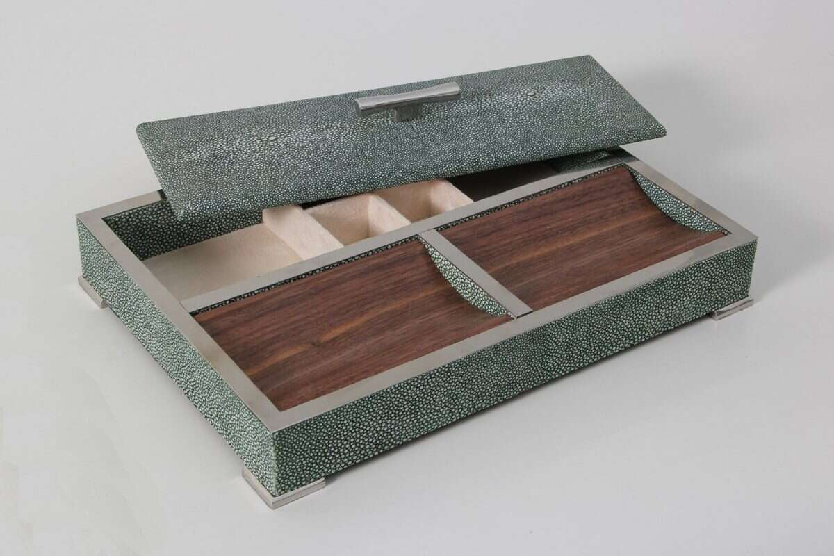Darcy Valet Tray in Lincoln Green Shagreen 4