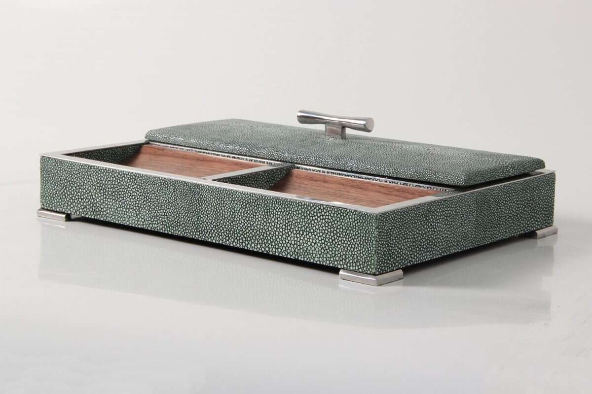 Darcy Valet Tray in Lincoln Green Shagreen 1