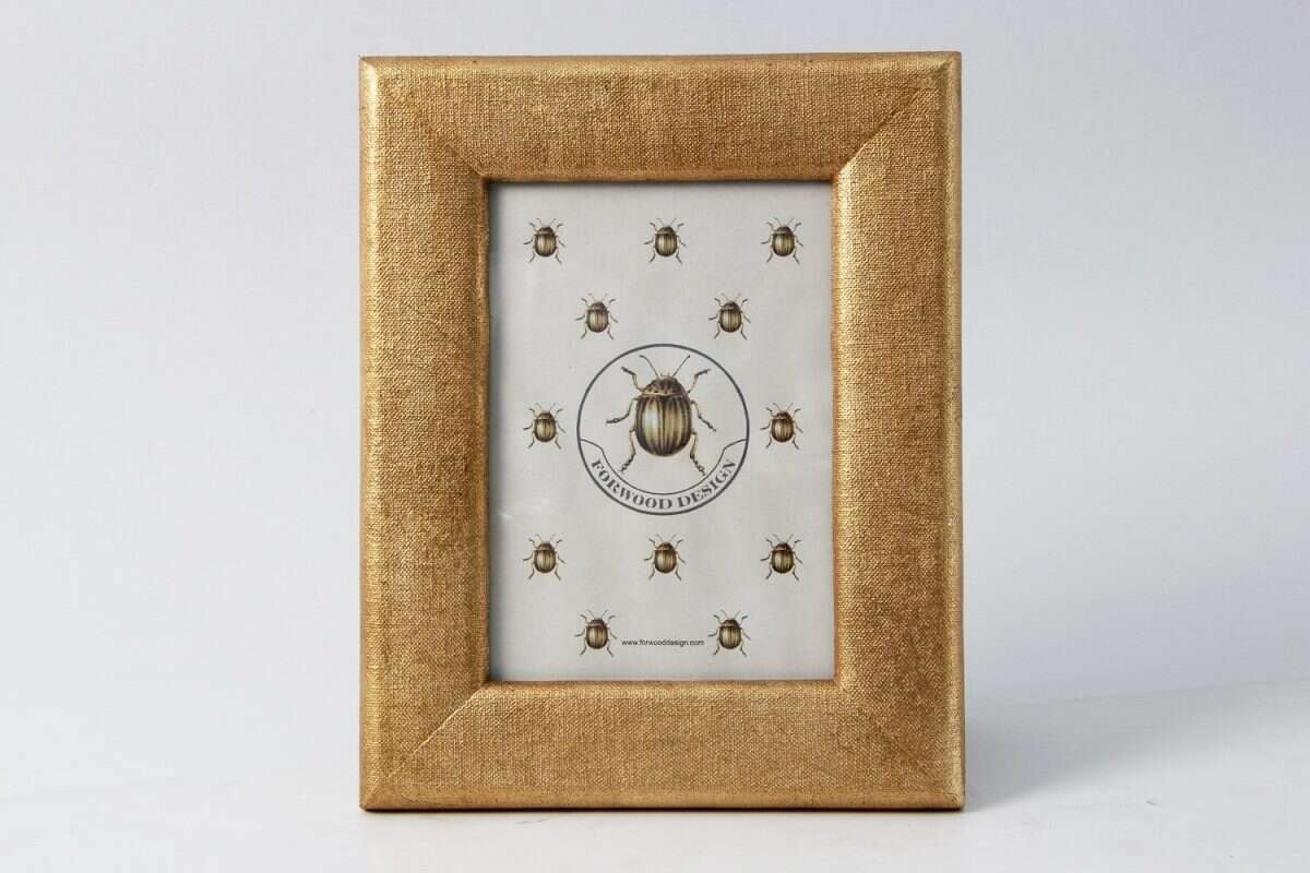 Linen Photo Frame in Antique Gold by Forwood design 5