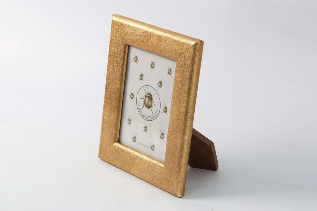 Linen Photo Frame in Antique Gold by Forwood design 4
