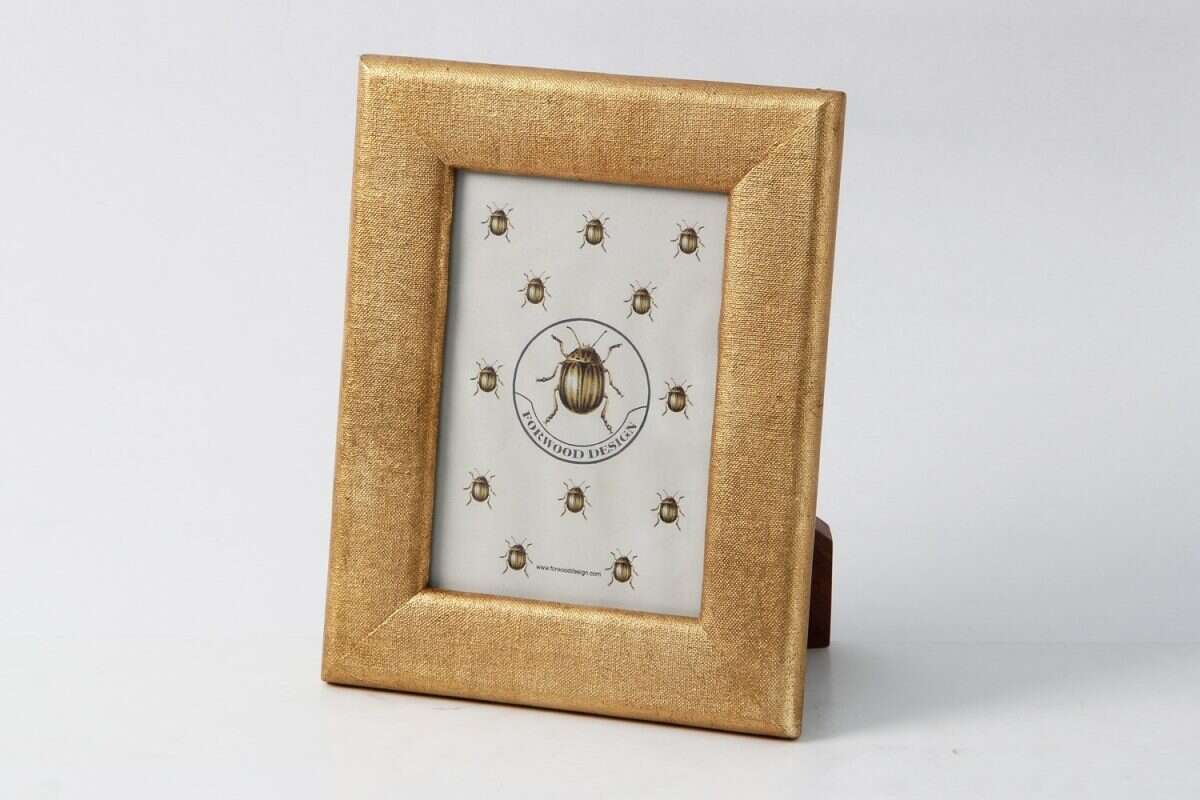 Linen Photo Frame in Antique Gold by Forwood design 3
