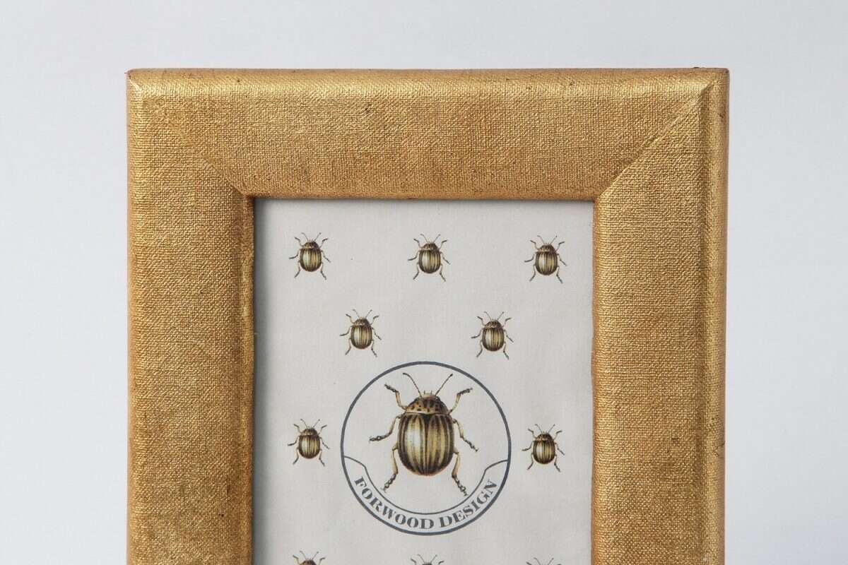 Linen Photo Frame in Antique Gold by Forwood design 1