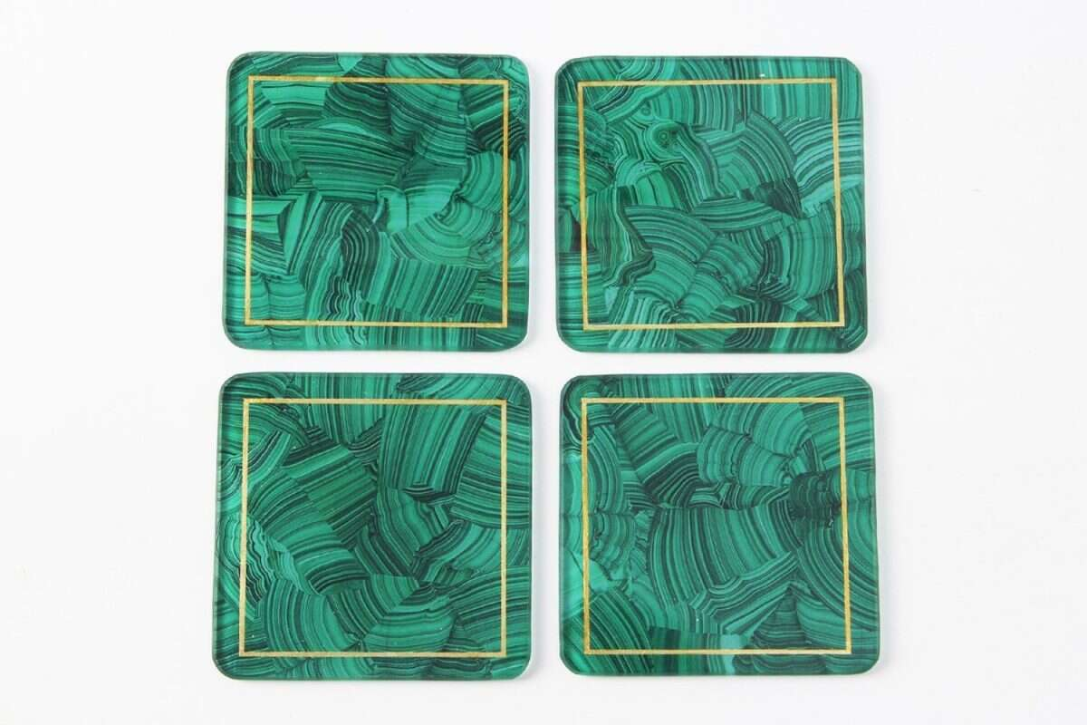 Malachite Drinks Coasters - Set of 4 by Forwood Design 5