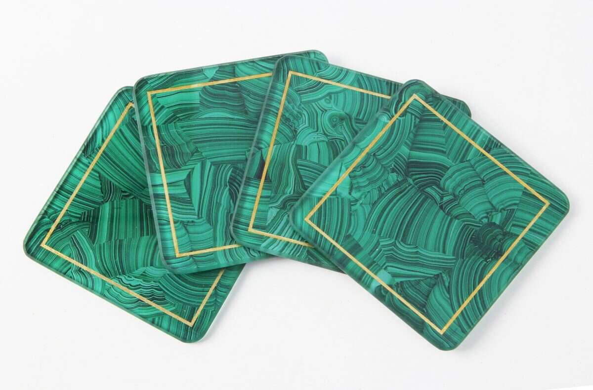 Malachite Drinks Coasters - Set of 4 by Forwood Design 1