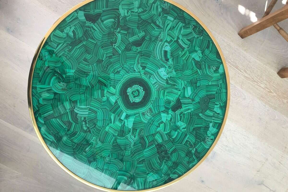 Malachite Alexandra Side Table by Forwood Design 1