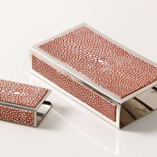Matchbox Holders in Coral Shagreen by Forwood Design 5