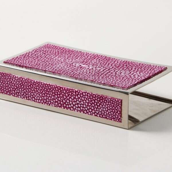 Matchbox Holders in Pink Shagreen by Forwood Design 10