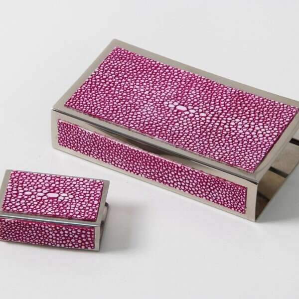 Matchbox Holders in Pink Shagreen by Forwood Design 1