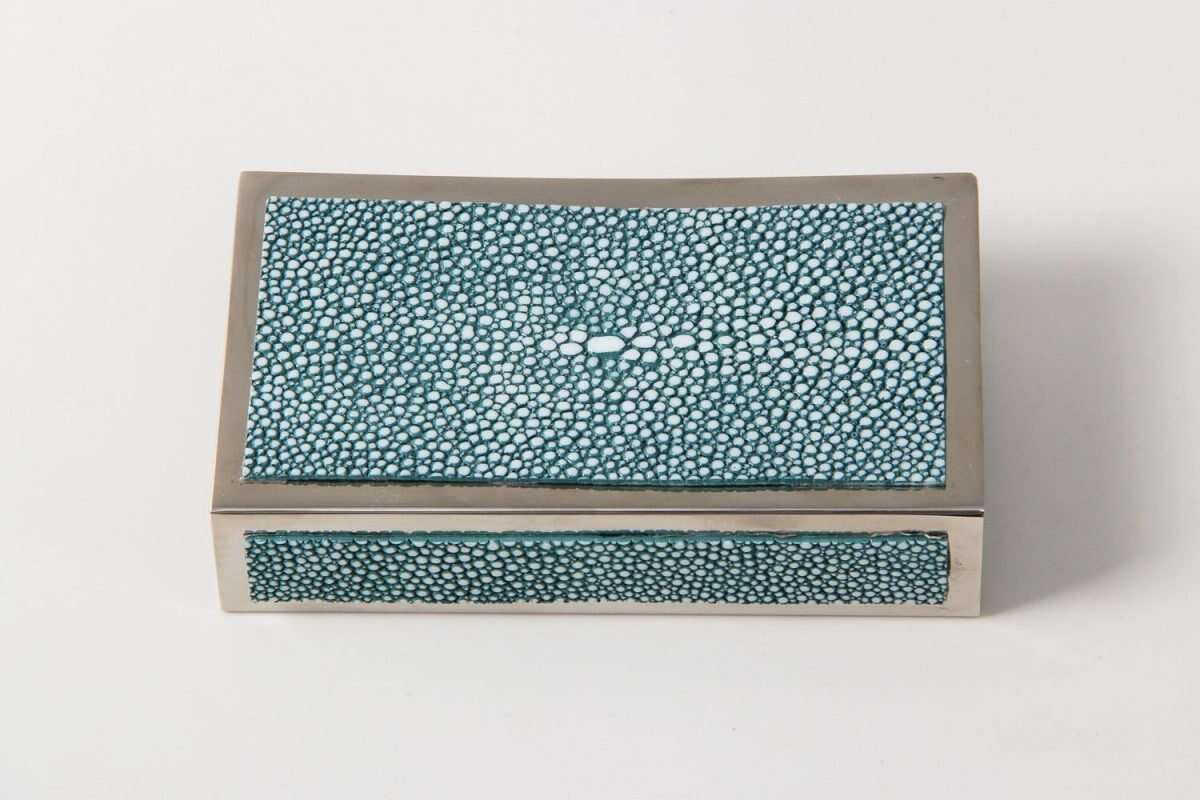 Matchbox Holders in Teal Shagreen by Forwood Design 9