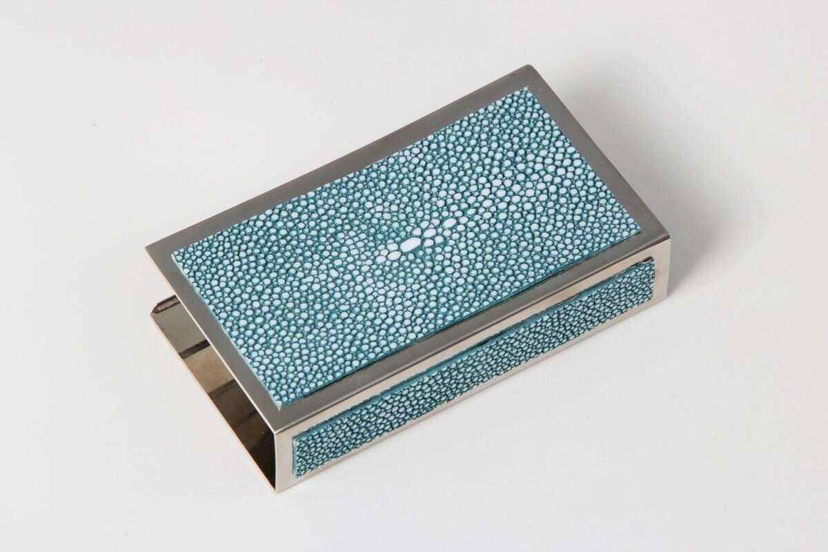 Matchbox Holders in Teal Shagreen by Forwood Design 8