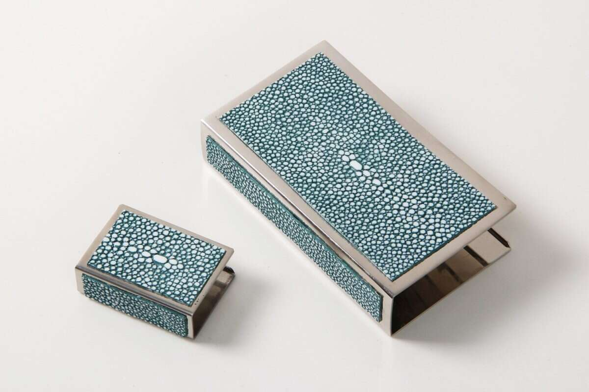 Matchbox Holders in Teal Shagreen by Forwood Design 7