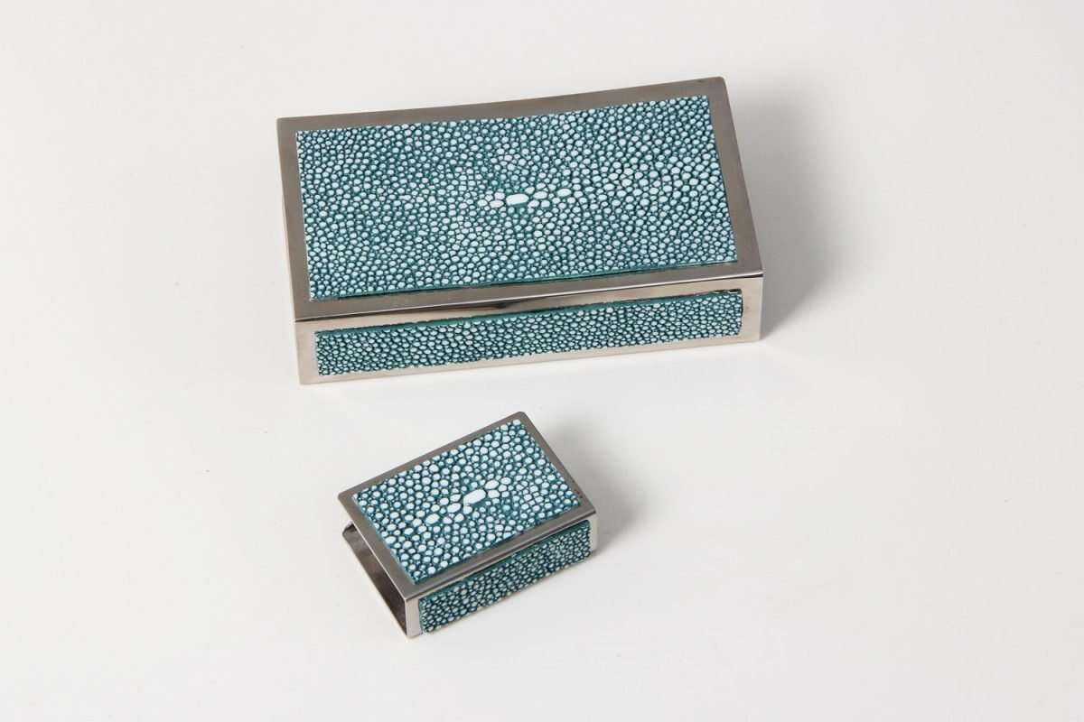 Matchbox Holders in Teal Shagreen by Forwood Design 6