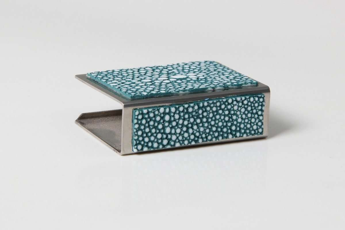 Matchbox Holders in Teal Shagreen by Forwood Design 5