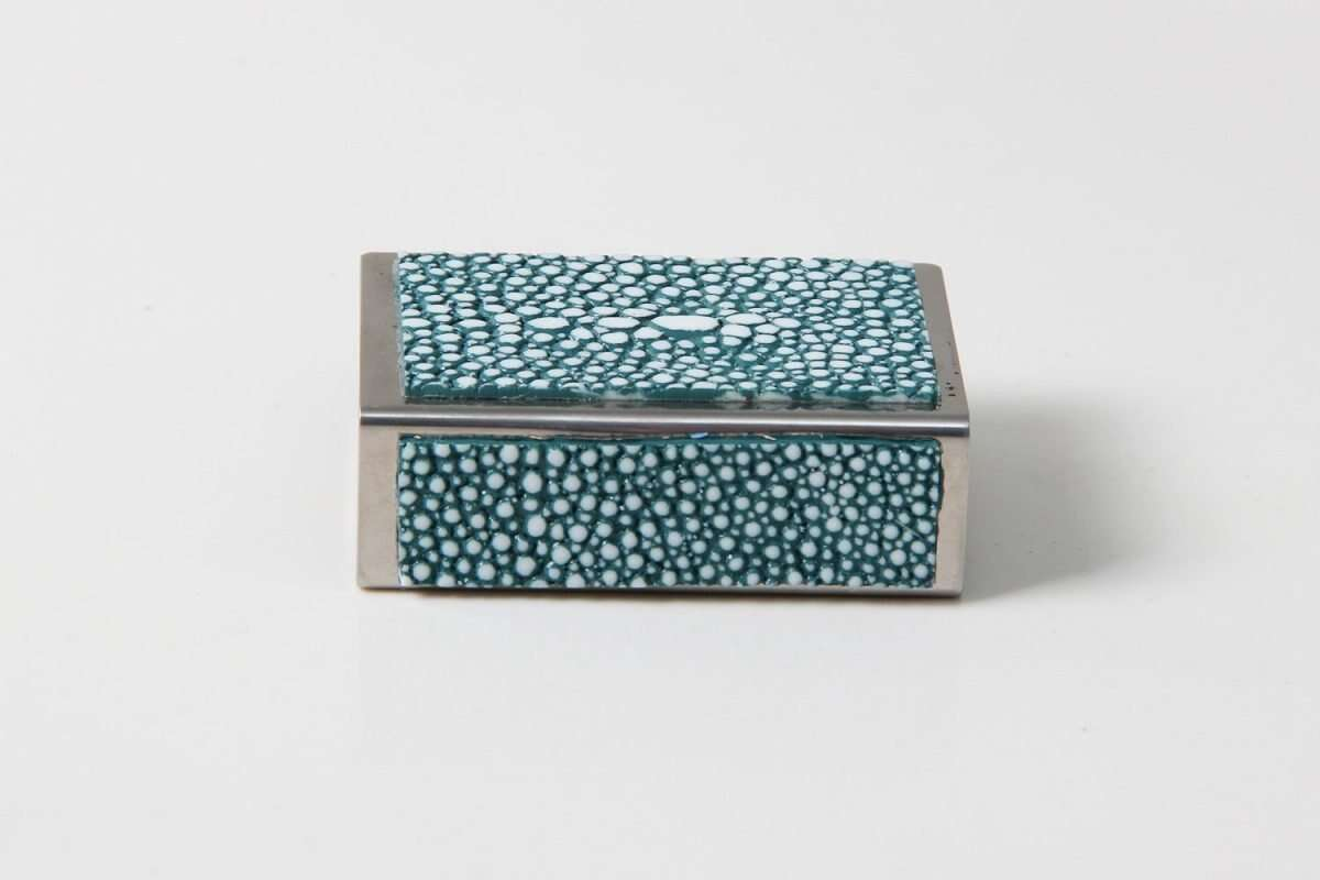 Matchbox Holders in Teal Shagreen by Forwood Design 4
