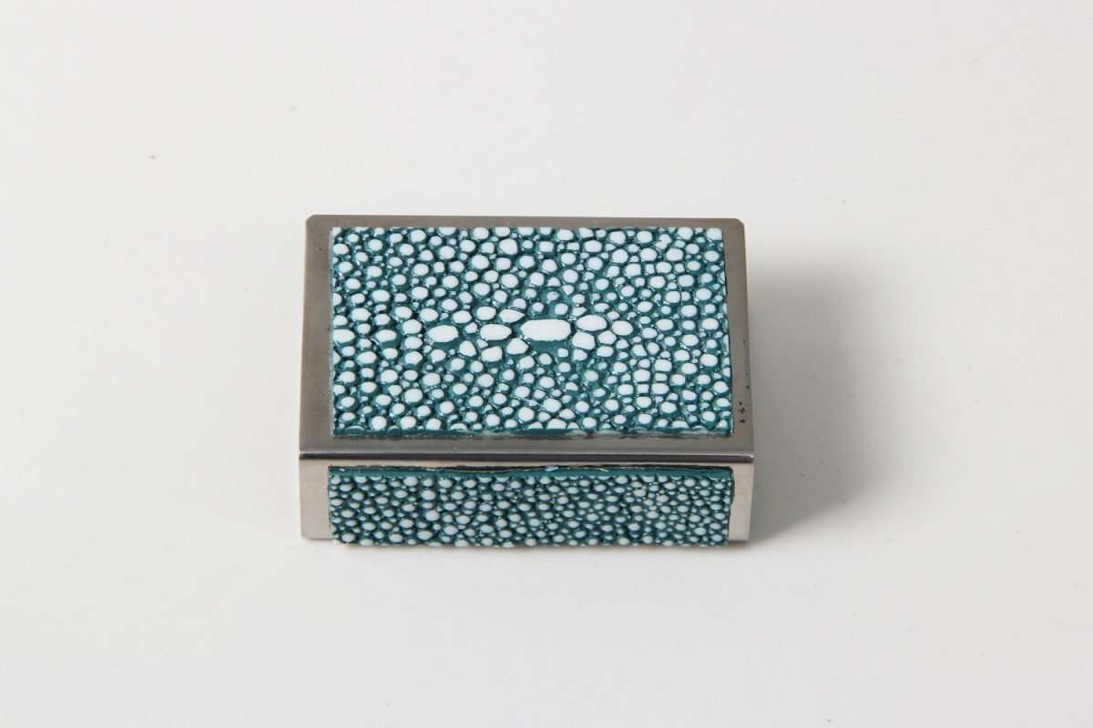 Matchbox Holders in Teal Shagreen by Forwood Design 3