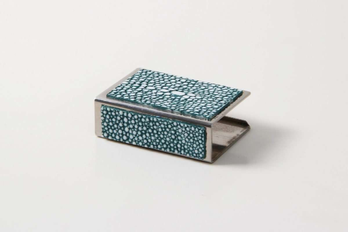 Matchbox Holders in Teal Shagreen by Forwood Design 2